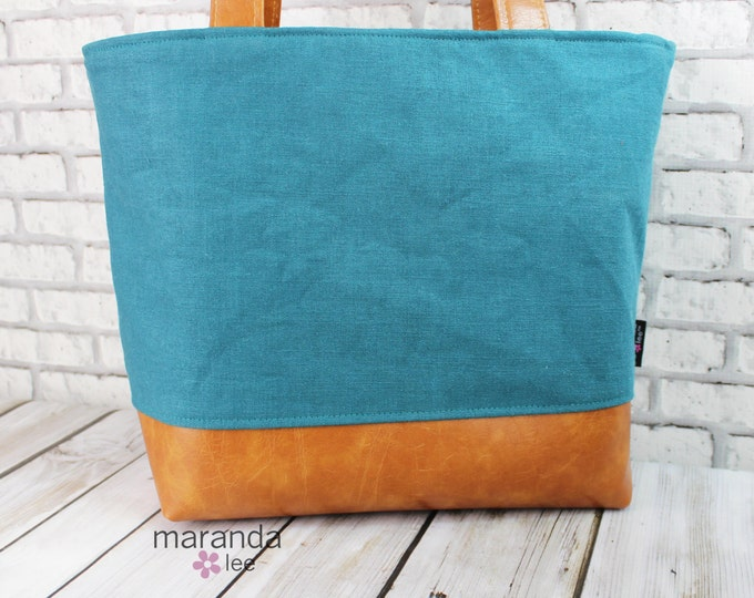 Lulu Large Tote Diaper Bag Teal Linen READY to SHIP