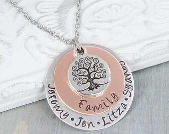 Personalized Jewelry - Hand Stamped Necklace - Family Tree Necklace - Family Name Necklace - Kids Name Necklace - Custom Jewelry