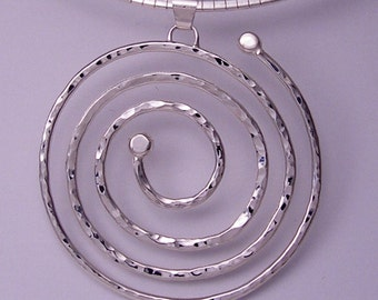one-of-a-kind, hand made 'circle of life' sterling silver, spiral pendant by Rubyblue Jewelry