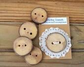 Handmade Natural Round Wooden Button - One (1) Sliced Branch Button