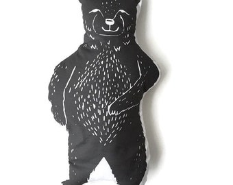 Pillow Plushie Mr. Black Bear- Decorative Pillow- Bear Plushie- Throw Pillow - Nursery Decor - Bear Pillow - Black Bear Plushie - Plush Bear