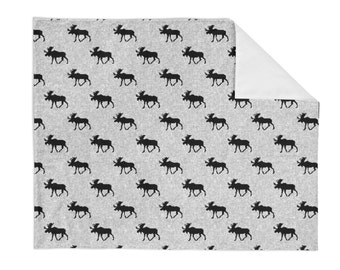Black Moose Crib Blanket - Baby Blanket - Minky Blanket - Woodland Blanket - Moose Baby Blanket - Woodland Animal Bedding - Grey Blanket