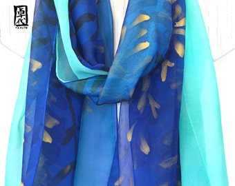 Hand Painted Silk Scarf, Large Blue Silk Scarf, ETSY, Double Layered Chiffon Scarf, Reversible Blue and Gold Wisteria, 14x72 inches