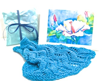 Summer Year Round Cotton bamboo hand knit  aqua turquoise women's hand knit lace cowl beach neckwear