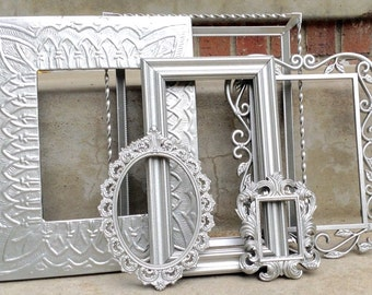 Large Brushed Nickel Ornate Picture Frame Set Collection 6 Piece