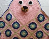 Bear Crochet Blanket Afghan Throw - Baby, Toddler and Child - Pink Green and Blue