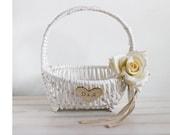 White Flower Girl Basket Rustic flower girl basket Wedding personalized basket Bridal basket Country flower girl basket Burlap wedding