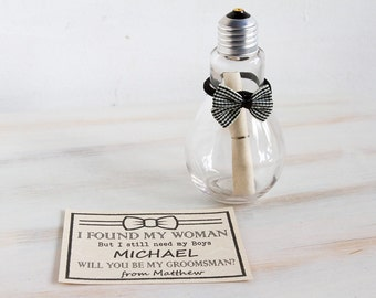 Will You Be My Groomsman Groomsman Invitation Best Man Wedding invite Message in a bottle Man of Honor Wedding Card Custom light bulb