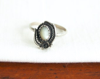 Mother of Pearl Ring Size 4 .5 Tiny Vintage Southwestern Jewelry White Stone Sterling Silver