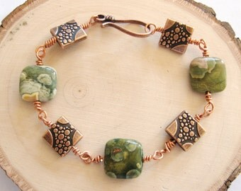 Rainforest Jasper Bracelet, Rain Forest Jasper Bracelet, Rainforest Jasper,Rainforest Copper Bracelet, Gemstone Bracelet, Gemsalad Jewelry