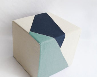 Cream Pouf/Floor Pouf/Ottoman/Geometric Pouf/Ice Blue/Navy Blue/Urban/Prism/Modern/Floor Pouf/Unique/Nursery Pouf/ Zigzag Studio Design