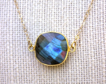 Labradorite Necklace, Labradorite Pendant Necklace, Gold Labradorite Necklace, Simple Minimal Blue Necklace, Gold Gemstone Necklace Jewelry