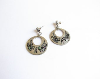 Sterling Silver Vintage Taxco Mexico Hoop Earrings with Inlay Bird Design