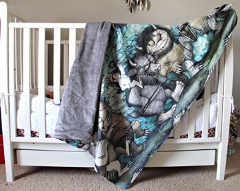 Where the Wild Things Are Minky Blanket, Woodland or Forest Crib Bedding, Baby Boy or Unisex Baby Decor