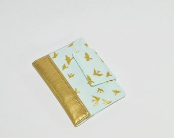 SAMPLE SALE Passport Wallet - Blue Passport Holder - Mini Journal Cover - Metallic Gold Family Travel Wallet - Gift for Her