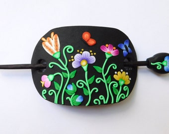 Colorful Flower themed Hair Pin, hair stick, polymer clay hair slide