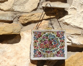 Vintage Petite Point Tapestry Purse Light Cream with Roses