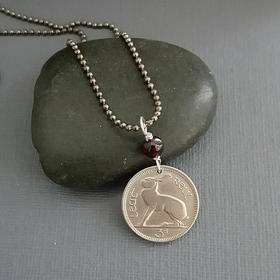 Irish Jewelry - Vintage IRELAND RABBIT coin necklace, Irish hare, harp, CELTIC, eire - moonstone necklace - rabbit jewelry - lapin bijoux