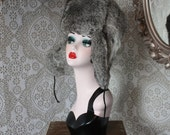 Vintage Russian Style Rabbit Fur Hat with Ear Flaps