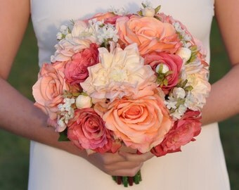 Summer Wedding Bouquet, Keepsake Bouquet, Bridal Bouquet made with Coral Rose, Pink Rose, Blush Dahlia Silk Wedding Bouquet. #wedding
