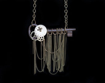 Steampunk Key Statement Necklace Antique Skeleton Key Necklace Steampunk Jewelry Key Jewelry Steampunk Costume Steampunk Art Necklace