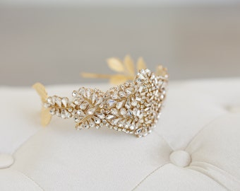Gold Juliet Cap, Art deco headband, Great Gatsby Headband, Gold Crown, Crystal Tiara, Crystal Veil, Art Deco Veil, Gold Crown Veil