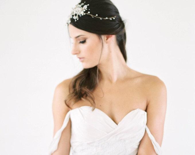Gold Bridal Headpiece, Wedding Hair Vine, Bridal Hair Piece, Silver head piece, Gold Wedding Hair Accessories, wedding headpiece, hair comb