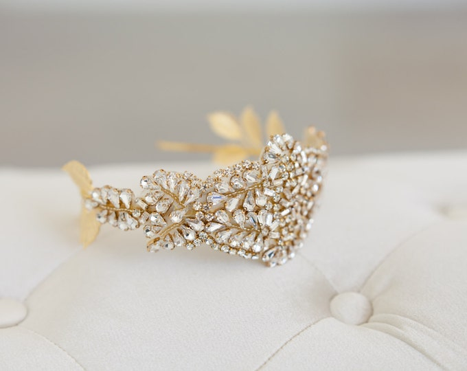 Gold Juliet Cap, Art deco headband, Great Gatsby Headband, Gold Crown, Crystal Tiara, Crystal Veil, Art Deco Veil, Gold Crown Veil