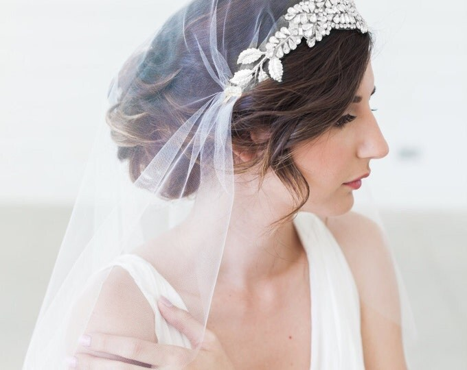 Juliet Cap Veil, Cap Veil, Tulle Veil, Juliet Veil, Vintage veil, Crystal Veil, Art Deco Veil, Silver Crown Veil, Great Gatsby Cap Veil