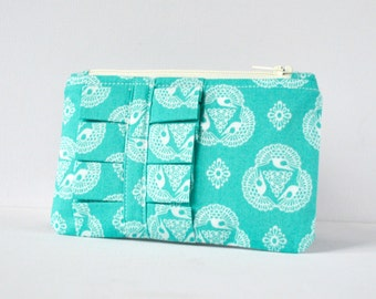 Coin purse wallet change pouch Intricate bali bird lace print aqua blue and white with ruffle.