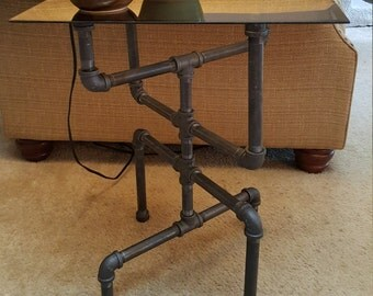 Rustic gas-pipe end table with glass top
