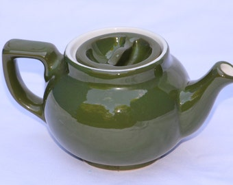Hall China Company Forest Green, Boston Sunken Lid, Individual Teapot