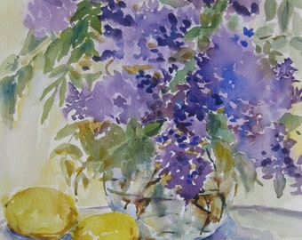 "Lilacs and Lemons Watercolor Painting  original art Flower still life Lilac Purple 13"" x 10"" CarlottasArt"