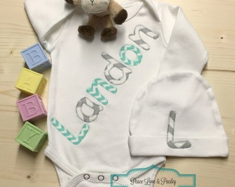 Personalized Baby Bodysuit and Hat Set, Personalized Baby Gift, Baby Shower Gift, Monogrammed Baby,Going Home Outfit, Aqua and Grey, Landon
