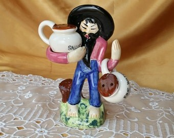 Vintage Hillbilly Snake Bite Fire Water Salt & Pepper Shakers 7584 moonshine jugs Japan *eb