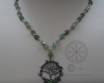 Spring Awakening: Pewter Tree of Life Pendant with Czech Glass & Sterling Silver Beads