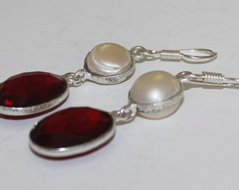 Natural Garnet Stone Fresh Water Pearl Silver Plated Dangle Earrings