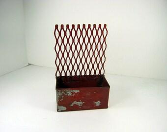 Vintage RUSTIC STORAGE BOX Red w/ Metal Grill Office Organizer