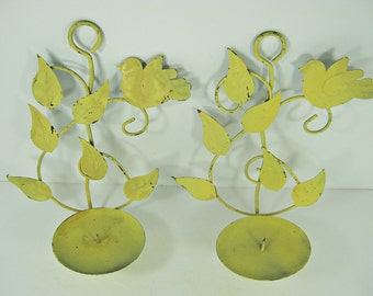 Vintage RUSTIC CANDLE SCONCE Set/2 Yellow Pillar Candleholder Wall Sconces