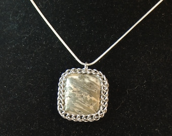 Pyrite Blended Pendant Set in Chainmail