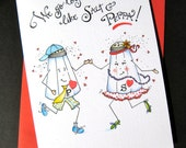 Cute Valentine Card - Funny Anniversary Card - Dancing Card - We Go Togetha Like Salt and Peppa