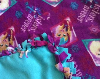 SALE Fleece Blanket - Frozen Elsa Anna Knotted Fleece Blanket