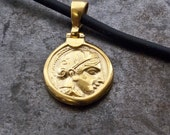 Gold Ancient Greek Coin Necklace, Small Coin Pendant Goddess Athena, Ancient Greece Coin Necklace, Statement Unisex Necklace, Men's Jewelry