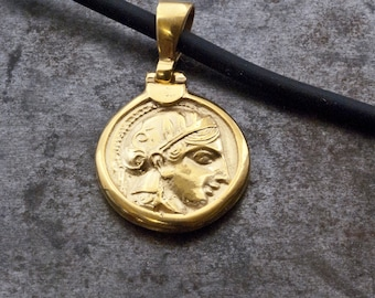 Gold Ancient Greek Coin Necklace, Small Coin Pendant Goddess Athena, Men Pendant, Coin Jewelry, Statement Unisex Necklace, Men's Jewelry