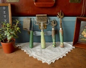 Vintage Collection of 4 Green Wooden Handled Kitchen Utensils Hand Can Opener Bottle Beer Decor