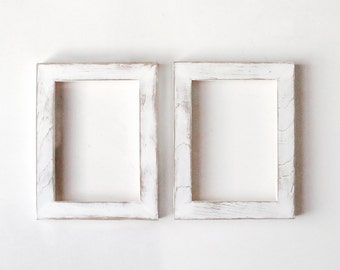 Distressed white frames - 2 matching 5x7 handpainted distressed picture frames
