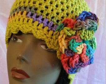 Crochet Flapper Hat  - Grasshoper/ Free Shipping!