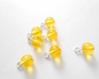 Yellow Transparent Druk Dangle Beads