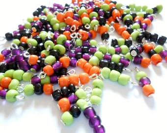 16 Different Halloween Colored Style Glass Seed Dangle Beads