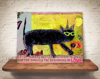 Cat print-HIS LOVE...Black cat art-Cat art- Black cat print- Cat art canvas-Cat art decor